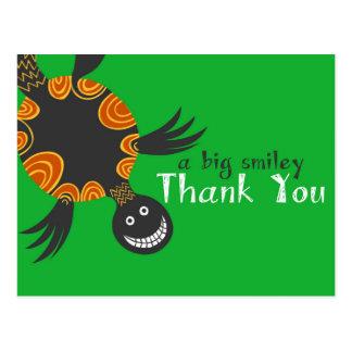 La tortuga sonriente le agradece las tarjetas postales