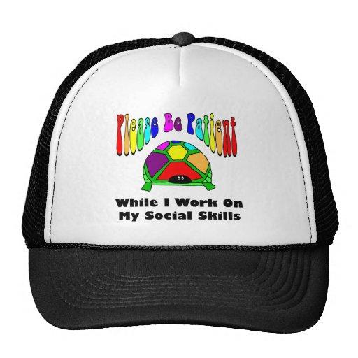 La tortuga tímida, sea por favor paciente… gorras de camionero