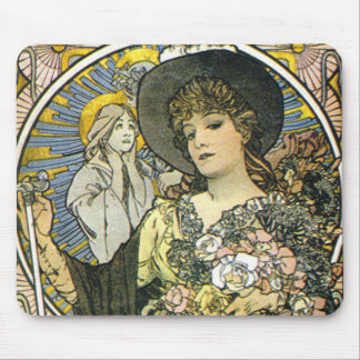 """""""La Tosca""""(detail) by Alphonse Mucha Mouse Pad"""