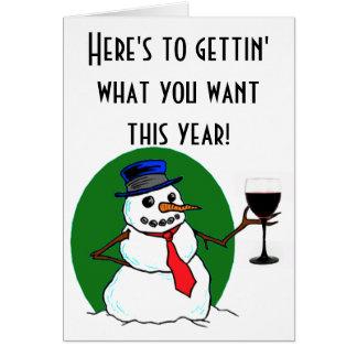 La tostada del muñeco de nieve tarjeta de felicitación