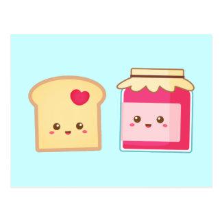 La tostada y la mermelada de fresa lindas, separar tarjeta postal