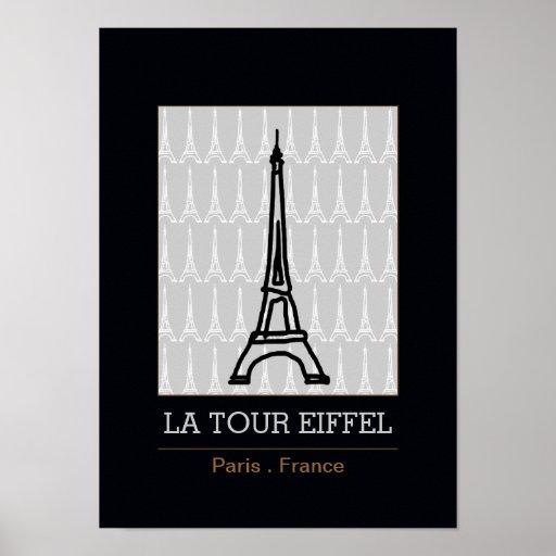 La tour eiffel black and white poster zazzle - Poster tour eiffel ...