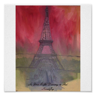 La Tour Eiffel Dancing in Red Poster