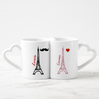 la tour eiffel paris france couples' coffee mug set