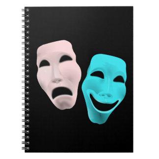 la tragedia del teatro de la cara de la comedia libro de apuntes con espiral
