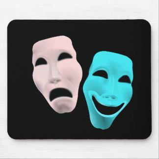 la tragedia del teatro de la cara de la comedia mouse pads