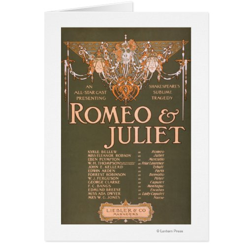 "La tragedia sublime ""Romeo y Juliet "" de Shakepear Tarjetón"