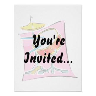 La trampa HiHat pega imagen de fondo rosada Invitación