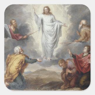 La transfiguración (aceite en el cobre) pegatina cuadrada