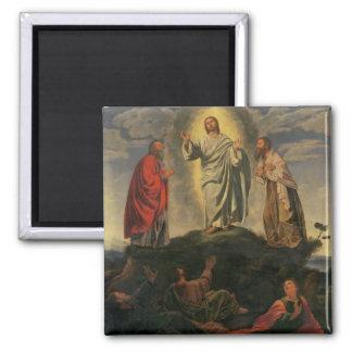 La transfiguración, c.1527-33 (aceite en el panel) imán cuadrado