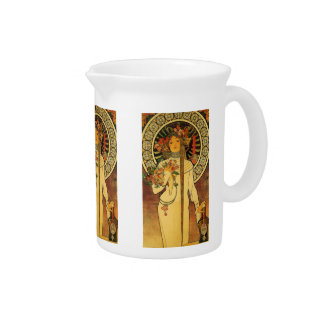 La Trappistine by Alfons Mucha Beverage Pitcher