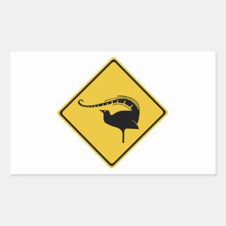 La travesía del Lyrebird, trafica la señal de Pegatina Rectangular