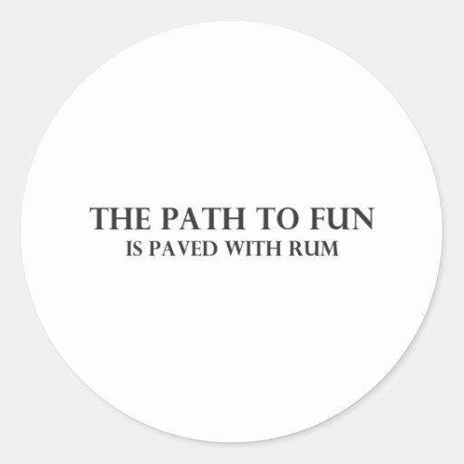 La trayectoria a la diversión 4 etiqueta redonda