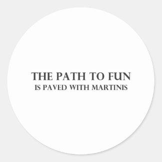 La trayectoria a la diversión pegatina redonda