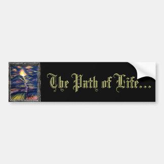 La trayectoria de la vida etiqueta de parachoque