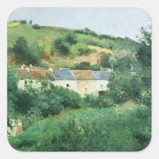 La trayectoria en el pueblo, 1875 pegatina cuadrada