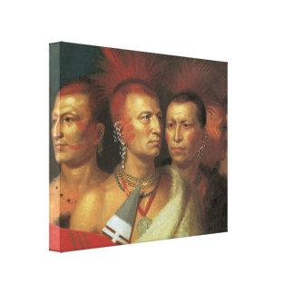 La tribu india 3D del oeste 1821 viejos envolvió Impresion De Lienzo