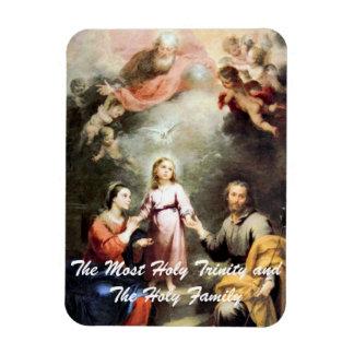 La trinidad más santa y la familia santa imán foto rectangular