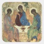 La trinidad santa, 1420s (tempera en el panel) calcomanías cuadradass