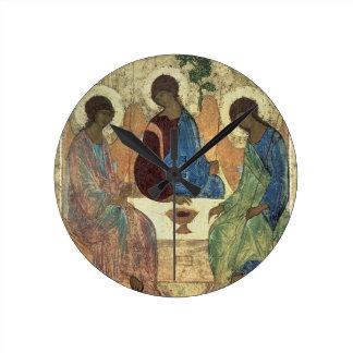 La trinidad santa, 1420s (tempera en el panel) reloj redondo mediano