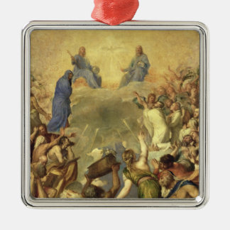La trinidad santa, 1553/54 (aceite en lona) adorno cuadrado plateado