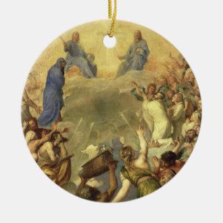 La trinidad santa, 1553/54 (aceite en lona) adorno redondo de cerámica