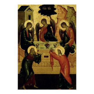 La trinidad santa, escuela de Novgorod, siglo XV Póster