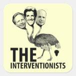 La troika del intervencionista pegatina cuadrada