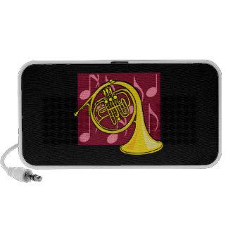 La trompa, amarillo, con las notas de Borgoña apoy Altavoz