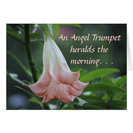 La trompeta del ángel anuncia la mañana felicitación