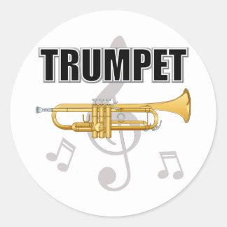 La trompeta observa a los pegatinas pegatina redonda