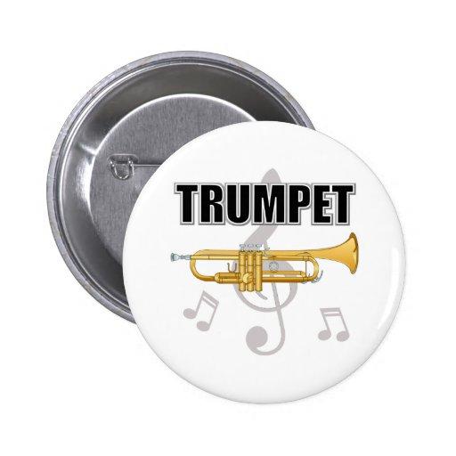 La trompeta observa el botón pin