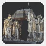 La tumba de Cristóbal Colón Calcomanía Cuadrada
