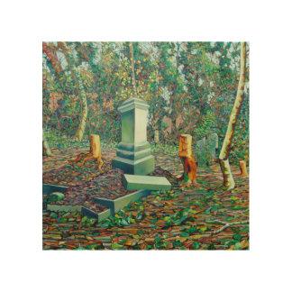 La tumba matada impresión en madera