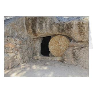 La tumba vacía del Jesucristo en tarjeta en blanco