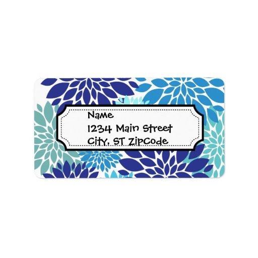 La turquesa azul bonita del trullo florece arte fl etiqueta de dirección