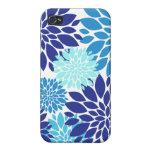 La turquesa azul bonita del trullo florece arte fl iPhone 4 coberturas