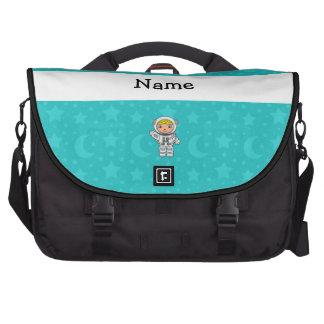 La turquesa conocida personalizada del astronauta  bolsas para portatil