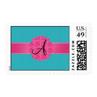 La turquesa del monograma raya rosas rosados sello