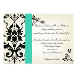 La turquesa elegante y el boda negro del damasco i anuncio