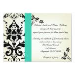 La turquesa elegante y el boda negro del damasco invitación 12,7 x 17,8 cm