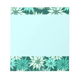 La turquesa florece la libreta blocs de papel