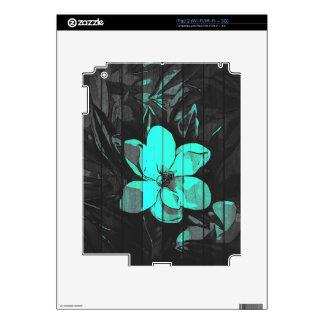 La turquesa fluorescente florece la madera calcomanía para iPad 2