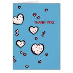 La turquesa manchada de los corazones le agradece  tarjeta