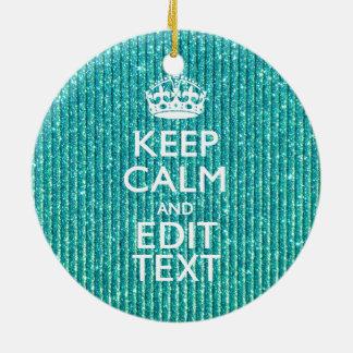 La turquesa mantiene la calma y su texto festivos adorno navideño redondo de cerámica
