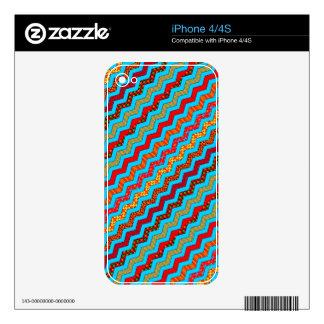 La turquesa raya color de los diseños geométricos calcomanías para el iPhone 4S