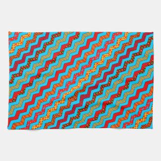 La turquesa raya color de los diseños geométricos toalla de cocina