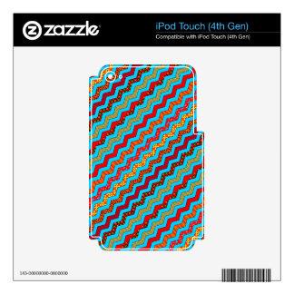La turquesa raya color de los diseños geométricos skins para iPod touch 4G