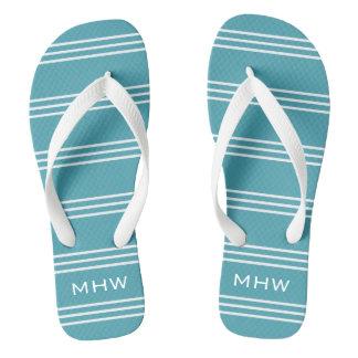 La turquesa raya las sandalias de encargo del