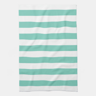 La turquesa raya las toallas de cocina del modelo